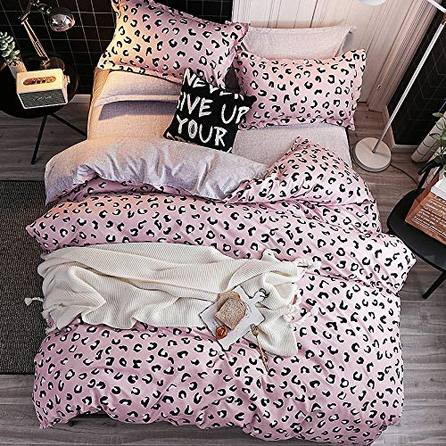 JQWUPUP Cute Leopard Duvet Cover Set Single, 3 Pcs Soft Quilt Cover with Zipper for Toddler Teens Kids Girls Adult Women, Durable Reversible Microfiber (Single, Pink)