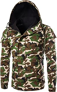 MISSMAO Men's Winter Black Warm Jacket Hooded Outwear Combat Camouflage Winter Coat Fleece Inner Jacket