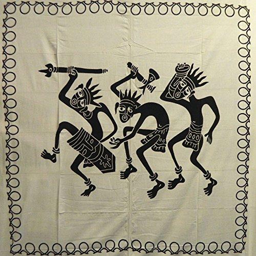 Tagesdecke Afrikanischer Stammestanz schwarz weiß 225 x 250 cm Baumwolle Wandbehang Dekoration