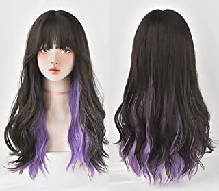 """KASTWAVE Purple Brown Wig with Bangs Long Wavy Natural Synthetic Lolita Halloween Cosplay Wig for Women 23"""""""