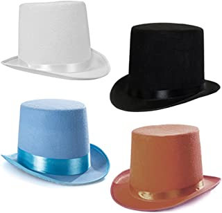 Tigerdoe Top Hats - Costume Hat - Party Hat - Stovepipe Hat - Colored Top Hats (4 Pack)