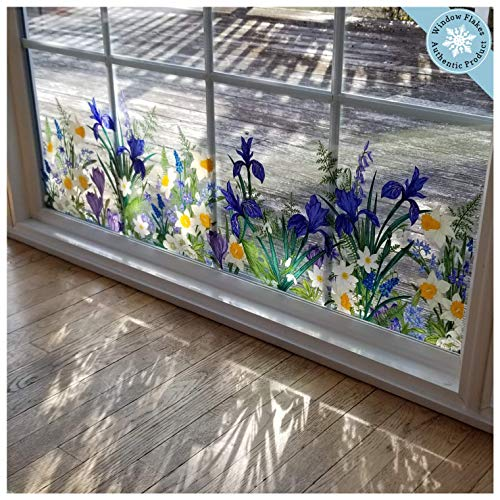Botanical Spring Flowers Border Window Cling - Flowers Window Decal - Crocuses, Ferns, Daffodils, Snowdrops and Many More.