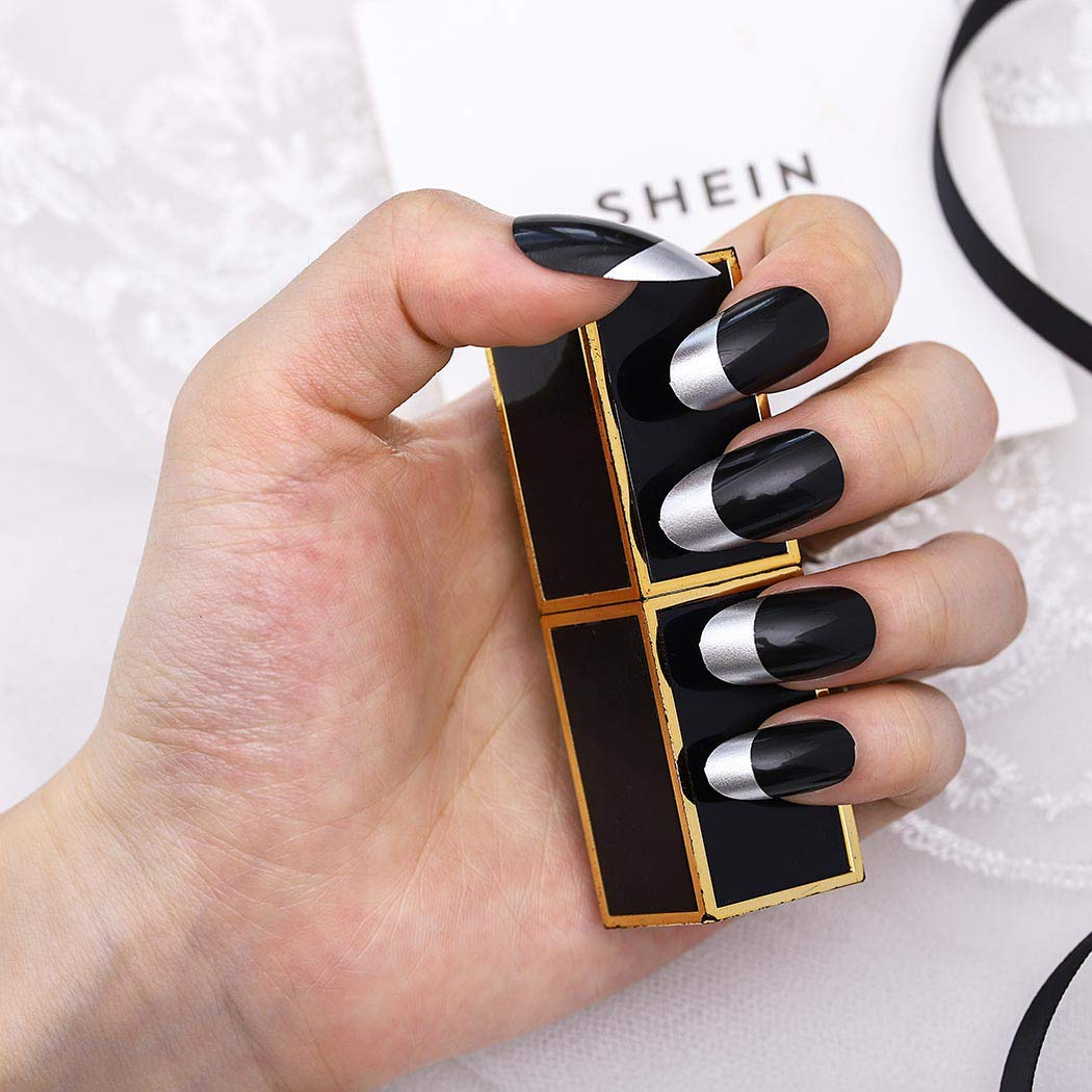 We OFFer at cheap prices Wodega French Oval Fake Nails Black Glossy Long A Press Free Shipping New on