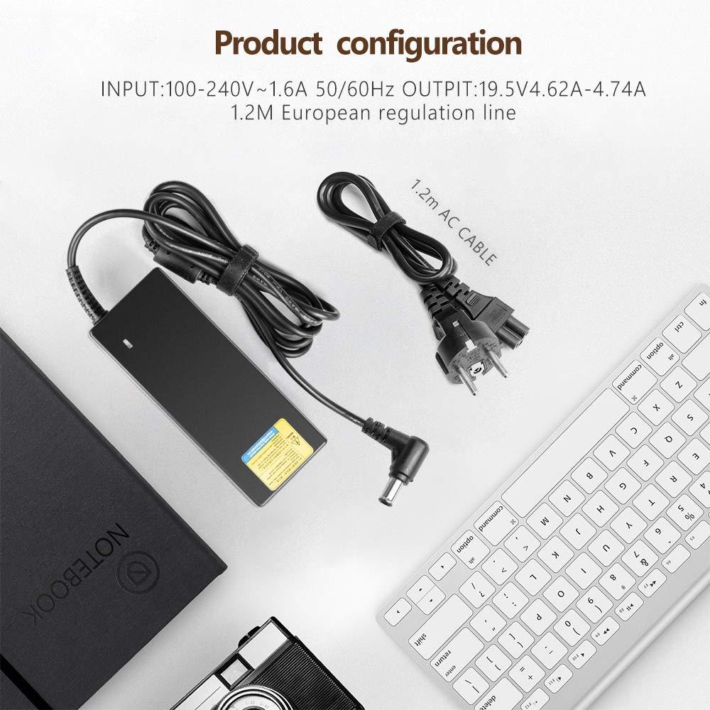 TAIFU Cargador Adaptador 19.5V 90W Compatible con Portátil Sony VAIO VGP-AC19V12 VPCEH2F4E VGP-AC19V37 VGP-AC19V24 PCGA-AC19V PCG91311M Sony Bravia TV KDL32 KDL40 KDL42 Barra de sonido Samsung HW-R450: Amazon.es: Electrónica