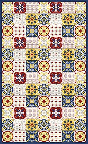 Deco&Fun - Alfombra Vinílica Hidráulica Florian Rojo 110x180cm -Alfombra de Vinilo hidráulica - Alfombra Cocina hidráulica - Alfombras de Vinilo - Alfombras PVC