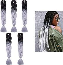 Silk-co 5 pcs Extensiones Trenzas Africanas de pelo sintético Sin olor Resistente al Calor Sudor Braiding Twist Crochet Hair 60cm #Negro Gris