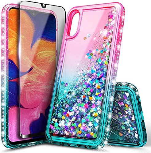 E-Began Case for Samsung Galaxy A10e with Tempered Glass Screen Protector (Full Coverage), Glitter Liquid Floating Gradient Quicksand w/Sparkling Bling Diamond, Durable Girls Cute Case (Pink/Aqua)