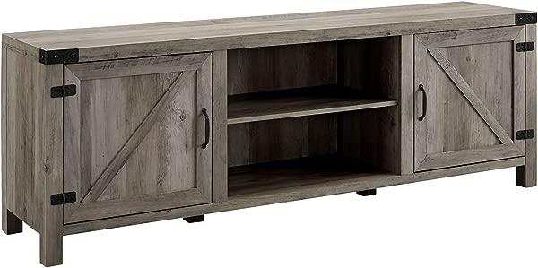 Walker Edison Furniture Company 70 Farmhouse Barn Door TV Stand Grey Wash