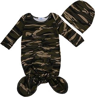 Newborn Infant Baby Boy Camo Swaddle Blanket Baby Sleeping Bag with Hat Long Sleeve Swaddle Muslin Wrap