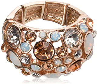 """GUESS """"Basic"""" Rose Gold Domed Multi-Stone Adjustable Ring, Size 7-9"""