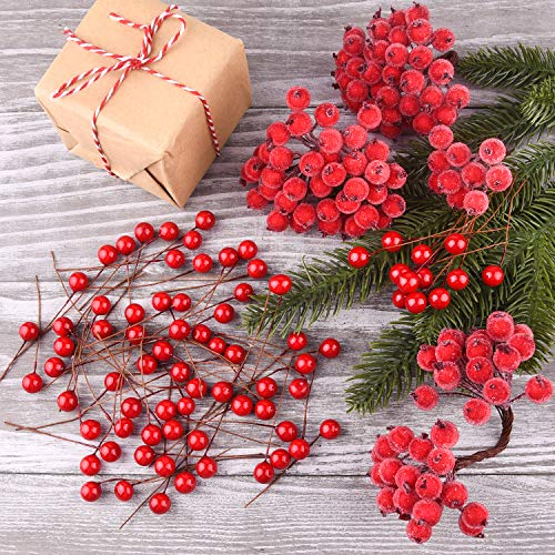 TUPARKA Rot Holly Beeren Weihnachten Dekoration, Weihnachtskranz der Versorgungen, Weihnachtsbaum Blumen Dekorations Tischschmuck Macht