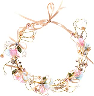 RQJ Headband Freshwater Pearl Crystal Bridal Gold Flower Headbands Wedding Headpiece Wreath Tiara Bridesmaid Floral Hair Vine with Bowknot Ribbons Hair Band Hair Accessories for Girl Woman