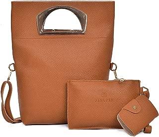 Docooler Women Three Piece Handbag Set PU Leather Shoulder Bag Clutch Bag Card Bag Zipper Casual Crossbody Bag