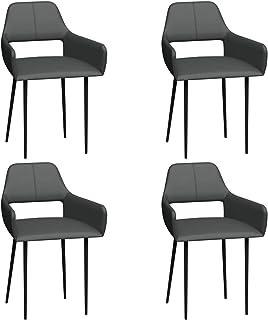 Tidyard Sillas de Comedor 4 Unidades Sillas para Comedor Cocina Sala de Estar Cuero Sintético Gris 4 x 52,5 x 79,5 cm