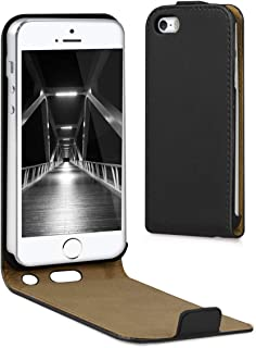 kwmobile Funda compatible con Apple iPhone SE / 5 / 5S - Carcasa para móvil de cuero sintético - Case en negro