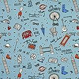 Fabulous Fabrics Baumwollstoff Cretonne London – blaugrau