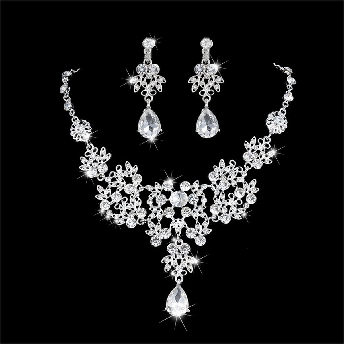 Sepniell Bridal Jewelry Sets Wedding Rhinestone Necklace Set for Women Bridesmaid Jewelry Set for Wedding