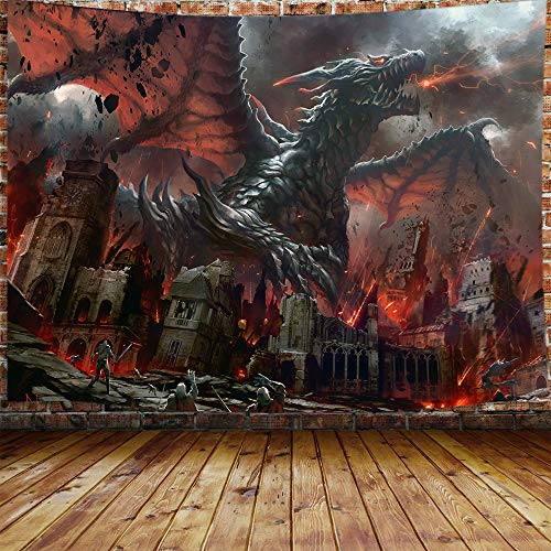 JAWO Fantasy World Tapestry Wall Hanging, Medieval Red Dragon and Human War Mythology Themed Art Tapestries Home Decoration Wall Decor (71W X 60H)