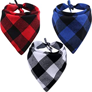 KZHAREEN 3 Pack Dog Bandana Plaid Reversible Triangle Bibs Scarf Accessories for Dogs Cats Pets