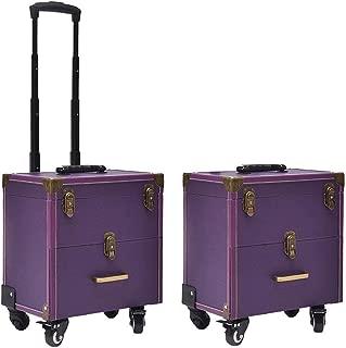 TONGSH Beauty Trolley Travel Case Train Case Vanity Box Luggage Suitcase Storage Organizer Hairdresser, MUA, Nail Artist (Color : Purple)