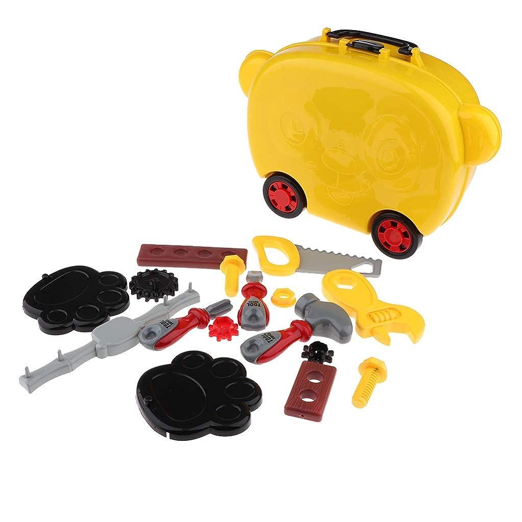 倫理的滝動くツールボックス玩具 大工さんセット 道具ボックス 作業道具 修理キット 知育玩具 子供向け