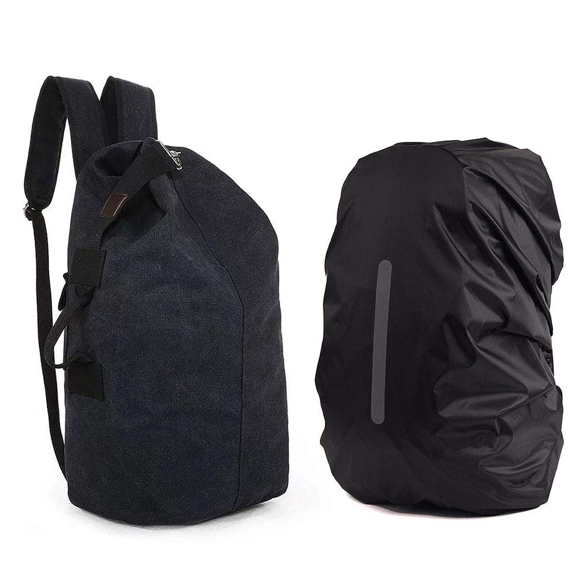 一致ブラウンセンチメンタルリュックサック 登山バッグ キャンバスバッグ アウトドアバッグ 大容量収納 掛け式と折り畳み式 防水袋付き 防災 アウト旅行