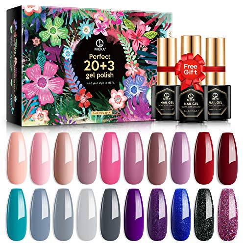 MEFA 23 Pcs Gel Nail Polish Set with Nice Box - Popular Nude Pink Purple Sparkle Galaxy ColorsSoak Off Nail Polish with Base Coat No Wipe Glossy & Matte Top Coat for Nail Art Salon Design Manicure Starter Set Christmas Gift for Women