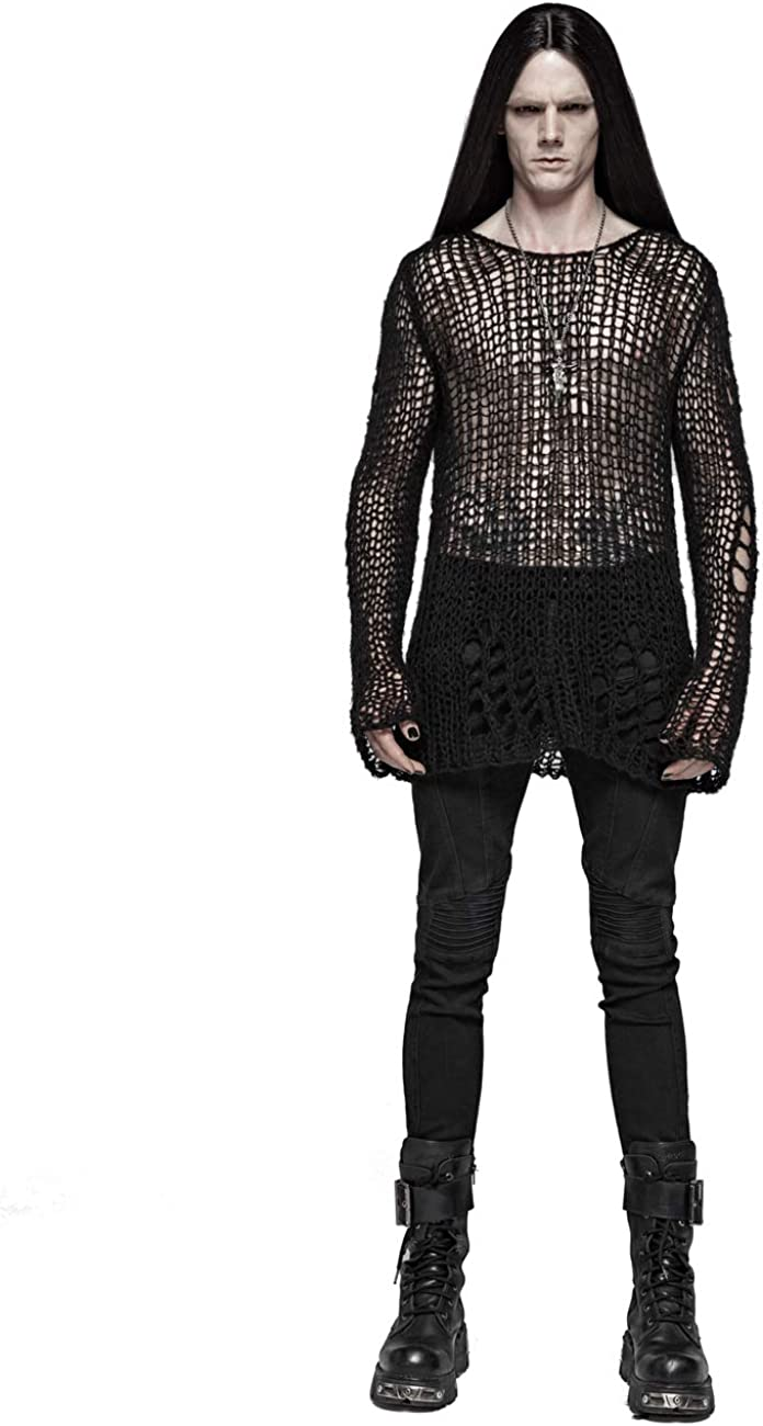 Punk Rave Men's Black Gothic Knitted Broken Pullover Hollow-Out Long Sleeve Sweater Tops