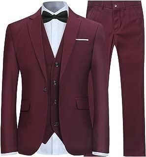 YFFUSHI Mens 3 Piece Suit Slim Fit One Button Solid Color Formal Dress
