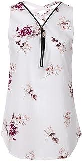 c5012ca2b2dda Oasisocean Womens Sleeveless Loose Solid Chiffon Flor Print Cross Zipper  V-Neck Blouse Tank Tops