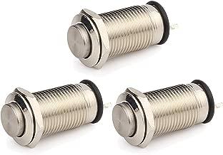 DIYhz Metal Waterproof Push Button Switch Self-Locking Lock Switch 10mm Small Power Button Switch Silver 2 feet 3PCS
