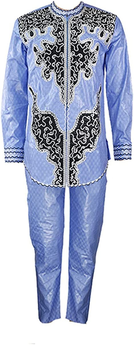 African Men's Clothing Dashiki Shirt Trouser Suit Embroidery Pattern top Trouser Suit Traditional African Clothing