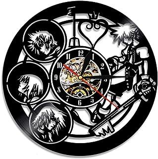 Reloj de Pared de Disco de Vinilo Kingdom Hearts Anime Silueta Moderna Vinilo Reloj Noche grabación Reloj de Pared 12 Pulgadas Xi045