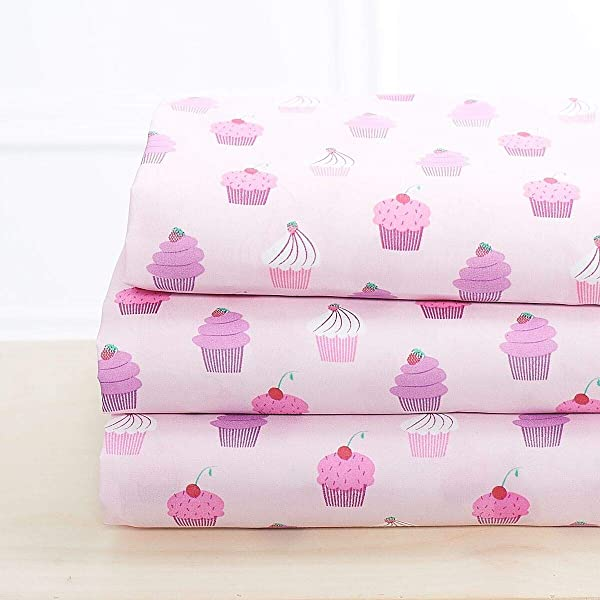 Elegant Home Multicolors Pink Purple Cupcakes Design 4 Piece Printed Sheet Set With Pillowcases Flat Fitted Sheet For Girls Kids Teens Cupcake Queen Size