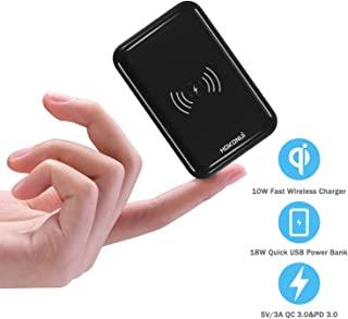 Wireless Portable Chargers 10000mAh, Hokonui Fast Wireless Charger Smallest Portable Charger with High-Speed 18W PD 3.0,QC 3.0 Port and LCD Display USB-C Power Bank for iPhone,Samsung and More -Black
