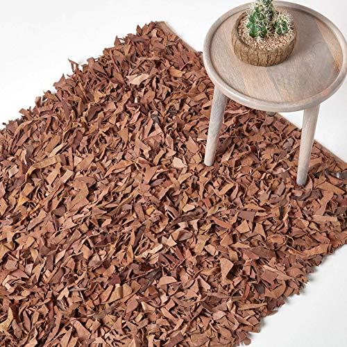 Homescapes Lederteppich/Bettvorleger Dallas 90 x 150 cm, Fransenteppich aus 100% Echtleder, moderner Shaggy-/Hochflor-Teppich, Hellbraun