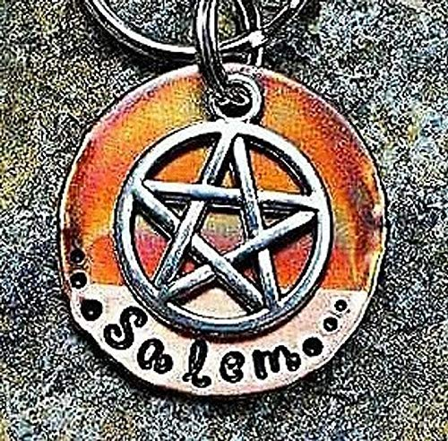 Salem Dog Tag, Pentagram Pet Tag, Cat Tag Personalized and Hand Stamped Collar Tag