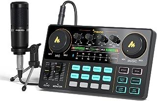 رابط صوتی با DJ میکسر و کارت صدا ، MAONO Portable ALL-IN-ONE Podcast Production Studio با میکروفون 3.5 میلی متری برای گیتار ، پخش مستقیم یوتیوب ، رایانه شخصی ، ضبط استودیو و بازی (AU-AM200-S1)