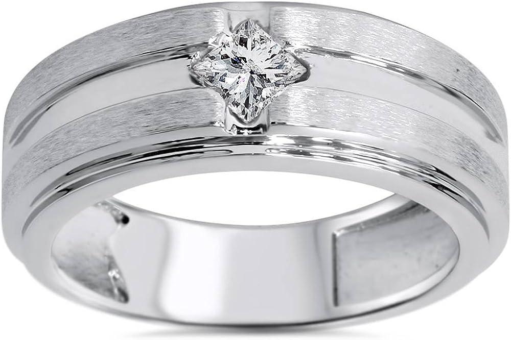 3/8ct Mens Princess Cut Diamond Wedding Ring 14K White Gold