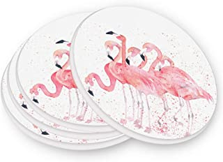 visesunny Pink Flamingo Pattern Drink Coaster Moisture Absorbing Stone Coasters with Cork Base for Tabletop Protection Prevent Furniture Damage Coffee Mug Glass Cup Place Mats, 2 Pieces