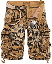qiu ping Men's Plus Size Overalls Casual Workwear Camouflage Shorts Multi-Pocket Five-Pants