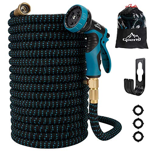 """Gpeng 50ft Expandable Garden Hose, Water Collapsible Hose with 9 Function Spray Nozzle, Durable 3-Layers Latex Core with 3/4"""" Solid Brass Fittings, Lightweight Expanding Flexible Hose"""