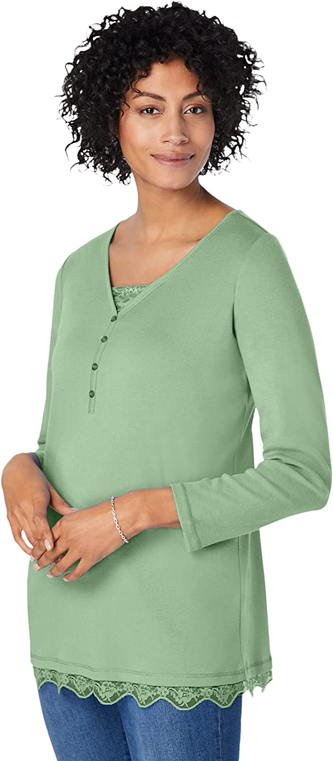 Woman Within Women's Plus Size Ribbed Layered-Look Lace-Trim Tee Shirt