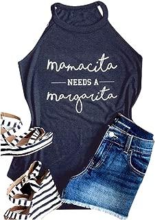 Women Mamacita Needs A Margarita Tank Top Funny Round Neck Sleeveless Tshirt Vest Tee