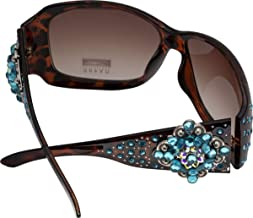 Women's Fashion Sunglasses with Stone Concho Jeweled Design on Frame, Amber Lens in Leopard Wraparound Rectangle Frame
