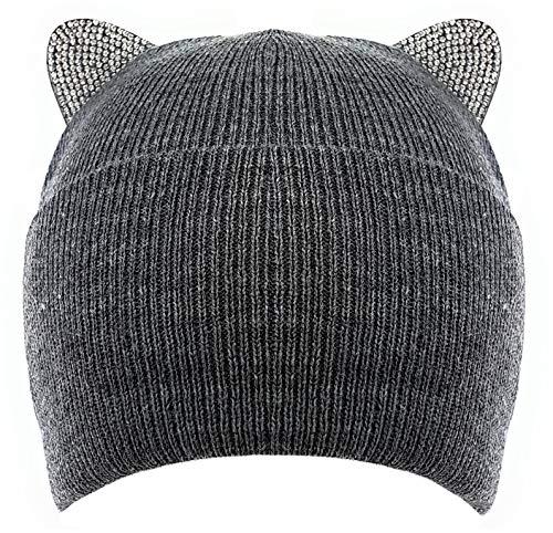 Bonnet en maille fine doublée avec oreilles de chat aspect diamant - Gris - Taille Unique