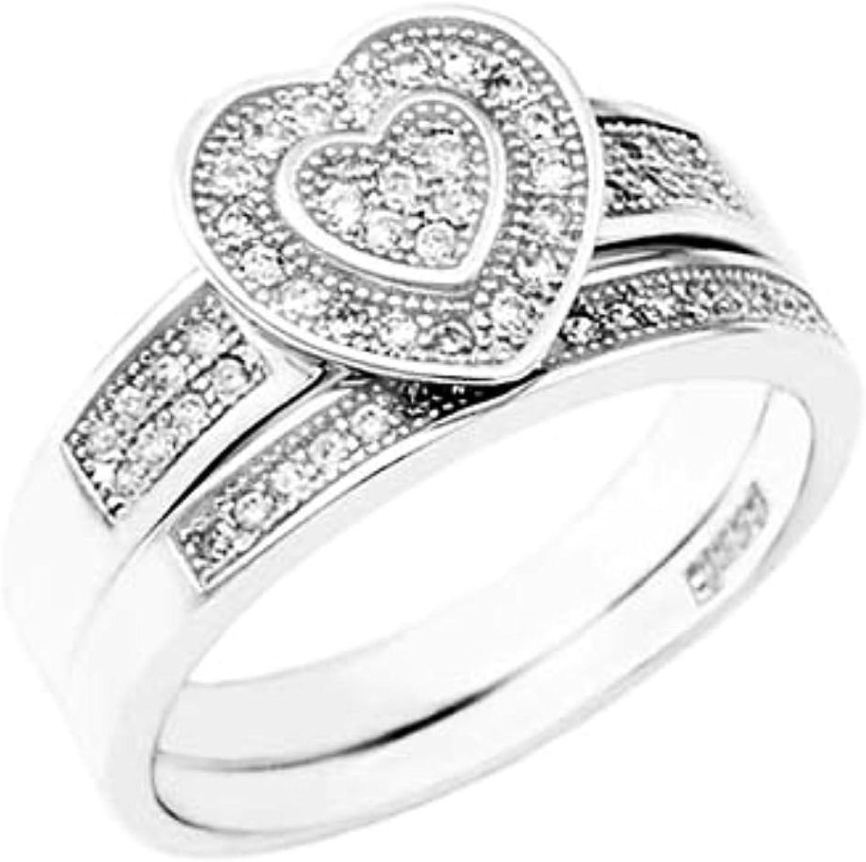 12mm wide Heart Halo Bridal Latest item Max 44% OFF Wedding ring designer 2 Piece .9 Set