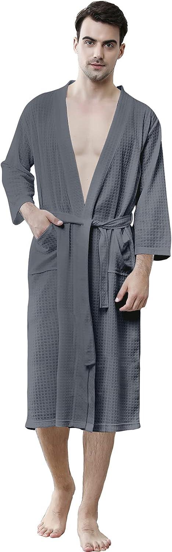 Waffle Robes for Men Long, Mens Soft Lightweight Summer Robes/Bathrobes for Spa/Shower/Hot Tub