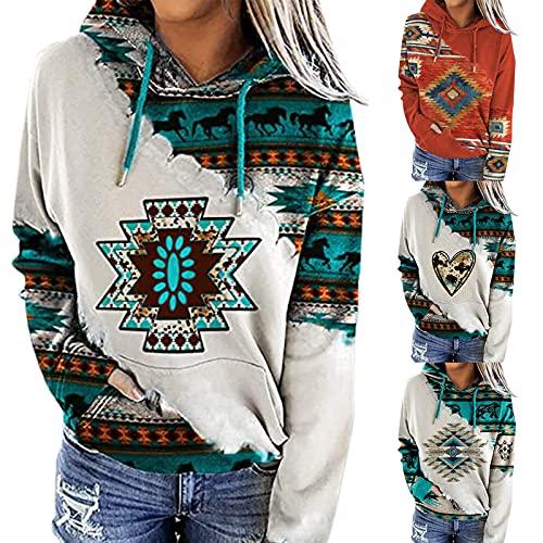 Sudadera con capucha para mujer, informal, geométrica, con estampado azteca, manga larga, con cordón, estilo étnico, marrón, L