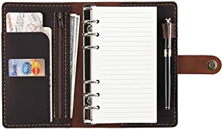 $33 » Leather Writing Journal Notebook Refillable, A6 Travelers Notebook with Pockets, 6 Ring Binder Planner Notebook with Pen H...